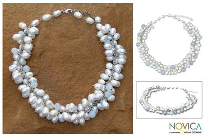 Pearl choker, 'Blue Princess' - Handcrafted Bridal Pearl Choker Necklace