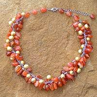 Pearl and carnelian choker, 'Princess'