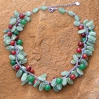 Beaded necklace, 'Green Princess'
