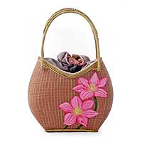 Bamboo And Silk Handbag, 'lilac Lotuses' Picture