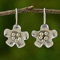 Silver floral drop earrings, 'Harvest Bloom' - 950 silver floral drop earrings