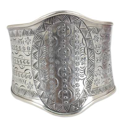 Handmade Celestial Stamped Sterling Silver Wide Cuff Bracelet
