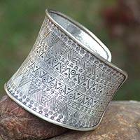 Silver cuff bracelet, 'Magic Signs'