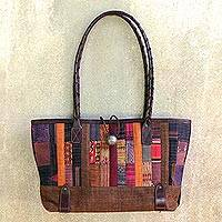 Leather and cotton handbag Warm Earth Thailand