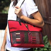 Leather and cotton handbag, 'Hill Tribe Chic in Burgundy' - Cotton Handbag Handmade Thailand
