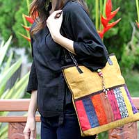 Leather and cotton handbag, 'Natural Rhythm' - Hill Tribe Patchwork Shoulder Bag