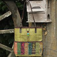 Leather and cotton shoulder bag, 'Lime Rhythm' - Hill Tribe Hemp Patterned Shoulder Bag from Thailand