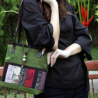 Leather and cotton handbag, 'Forest Rhythm' - Green Hill Tribe Patchwork Shoulder Bag