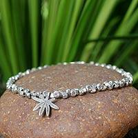 Silver anklet, 'Forest' - Hand Made 950 Silver Beaded Bracelet