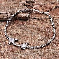 Silver anklet, 'Twin Fish' - 950 silver anklet