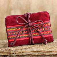 Cotton blend jewelry roll, 'Tribal Jewels' - Thai Hill Tribe Crafted Burgundy Cotton Blend Jewelry Roll