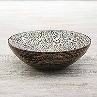 Eggshell mosaic bowl, 'Snow Ball' (medium) - Eggshell Mosaic Bowl from Thailand (Medium)
