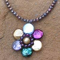 Pearl and garnet flower necklace,