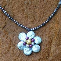 Pearl flower necklace, 'Winter Blossom' - Artisan Crafted Floral Pearl Necklace