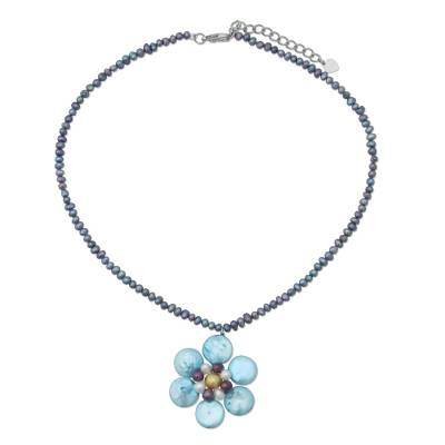 Artisan Crafted Floral Pearl Necklace