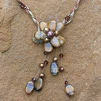 Pearl and tiger's eye flower necklace, 'Flower of Siam' - Pearl and Tiger's Eye Flora Necklace
