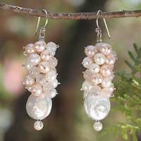 Pearl and rose quartz cluster earrings, 'Clusters' - Unique Bridal Pearl Dangle Earrings from Thailand