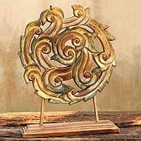 Teak sculpture, 'Wheel of Life' - Thai Teak Sculpture
