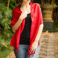 Silk scarf, 'Cherry Supreme' - Red Silk Scarf