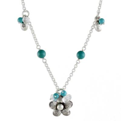Floral Sterling Silver and Turquoise Necklace