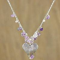 Pearl and amethyst choker, 'The Secret of Love' - Handcrafted Silver and Amethyst Heart Necklace