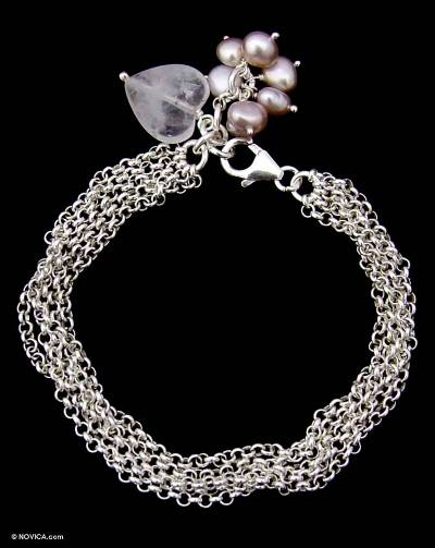 Sterling Silver Chain Bracelet with Heart Charm