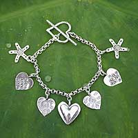 Sterling silver charm bracelet, Hearts and Daisies