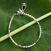 Pearl charm bracelet, Hill Tribe Charm