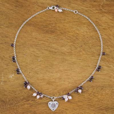 Pearl and rose quartz choker, 'Promise of Love' - Handcrafted Heart Shaped Sterling Silver Necklace