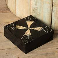 Eggshell mosaic jewelry box, 'Fireworks' - Thai Lacquered Wood jewellery Box