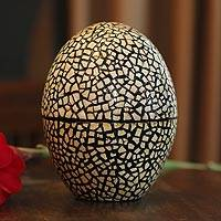Eggshell mosaic box, 'Rain' - Unique Lacquerware Mango Wood Box