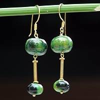 Gold vermeil chrysocolla dangle earrings, Convergence