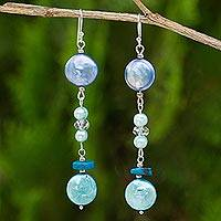 Pearl and chrysocolla drop earrings,