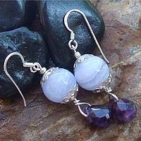 Amethyst and agate dangle earrings,