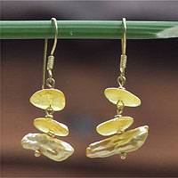 Gold vermeil pearl dangle earrings, 'Platform of Venus' - Handmade Gold Vermeil and Pearl Earrings