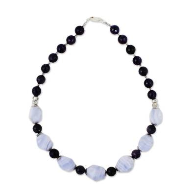 Amethyst and agate beaded necklace