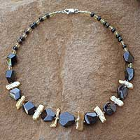 Gold plated pearl beaded necklace,