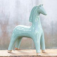 Celadon ceramic statuette Elegant Equine Thailand