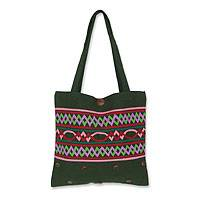 Cotton handbag, 'Emerald Balance' - Cotton handbag