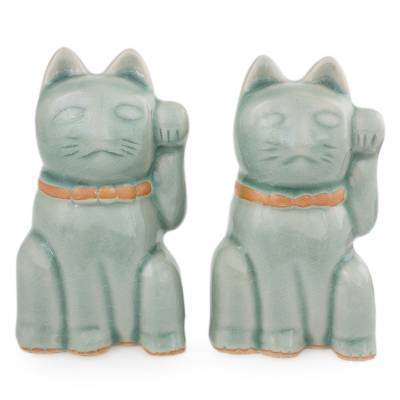 Celadon Ceramic Sculptures (Pair)