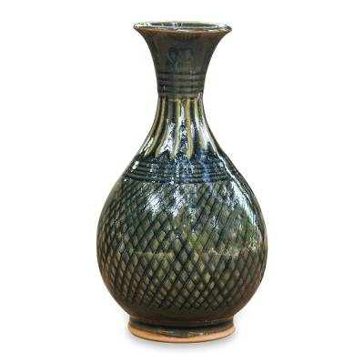 Hand Made Celadon Ceramic Vase from Thailand