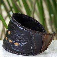 Leather wristband bracelet, 'Golden Path' - Fair Trade Leather Wristband Bracelet