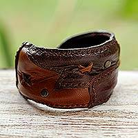 Leather wristband bracelet, 'Crisscross' - Handmade Leather Cuff Bracelet