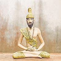 Celadon ceramic statuette Yoga Master Thailand