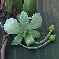 Natural orchid leather long flower necklace, 'Exotic Green Bloom' - Natural Flower Necklace