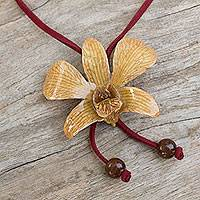 Natural orchid leather long flower necklace, 'Exotic Cinnamon Bloom' - Artisan Crafted Natural Flower Lariat Necklace