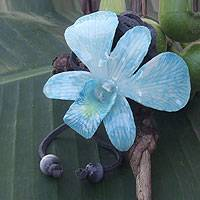 Natural orchid leather long flower necklace, 'Exotic Sky Bloom' - Blue Natural Orchid And Leather Adjustable Necklace