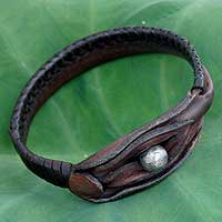 Leather wristband bracelet, 'Asian Chic' - Unique Leather Wristband Bracelet