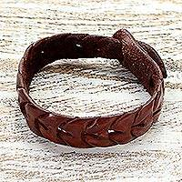 Leather wristband bracelet, 'Waves' - Leather wristband bracelet