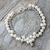 Pearl floral bracelet, White Moon Rose